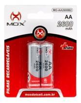 Pilha recarregável AA Tamanho Tradicional MOX Alta capacidade - Kit com 2 Pilhas -