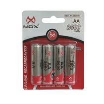 Pilha Recarregável Mox Aa 2600 mAh 1.2v Pequena Com 4 unidades Original no Blister Mo-aa2600b4 -