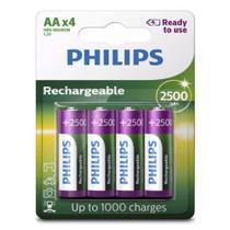 Pilha Recarregável Philips Aa 2500 mAh Pequena com 4 Unidades Prontas pro Uso RTU -