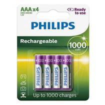 Pilha Recarregável Philips Aaa 1000 mAh Palito com 4 Unidades Prontas pro Uso RTU -