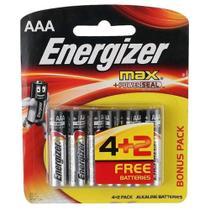 Pilhas Alcalinas - LR03 Palito - AAA - Cartela com 6 Unidades - Energizer Max - Arcom