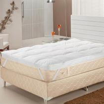 Pillow Top Casal Fibras Siliconizadas 233 Fios Branco Plumasul -
