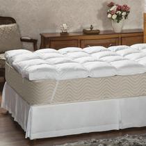 Pillow Top Queen Plumasul Fibra Siliconada Percal 233 Fios Branco -
