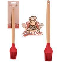 Pincel culinario de silicone vermelho cabo madeira bons cheff 27x3,5cm na cartela - kit 2 pçs - Wellmix