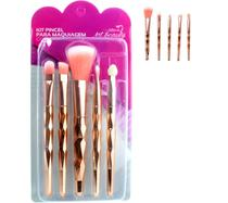 Pincel Maquiagem Gold kit com 5 unidades Metalizado Beleza Pinceis Esfumar Ótima Qualidade - Art Beauty