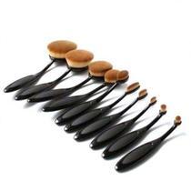 Pincel Maquiagem Oval Kit 10 Peças Escova Flexivel  Liquidos Creme Corretivo Profissional Contorno Base - Abmidia