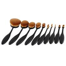 Pincel Maquiagem Oval Kit 10 Peças Escova Flexivel Profissional Contorno Base Liquidos Creme Corretivo - AB MIDIA