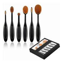 Pincel Maquiagem Oval Kit 5 Peças Escova Flexivel Profissional Contorno Base Liquidos Creme Corretivo - AB MIDIA