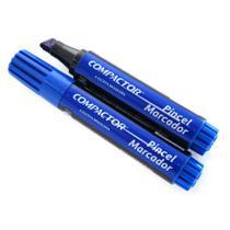 Pincel Marcador Permanente Traco Grosso Azul Caixa C/ 12 - Compactor -