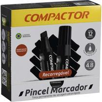 Pincel Marcador Permanente Traco Grosso Preto Compactor -