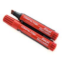 Pincel Marcador Permanente Traco Grosso Vermelho Caixa C/ 12 - Compactor -