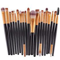 03164467ec55b Pincel Profissional Maquiagem Kit com 20 Pinceis Preto  Ouro - Gujhui