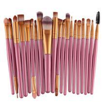 93c298fcdcf51 Pincel Profissional Maquiagem Kit com 20 Pinceis Rosa   Ouro - Gujhui