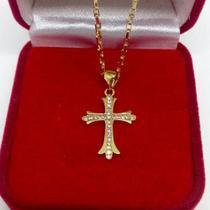 Pingente Crucifixo Com Zircônias Folheado A Ouro - Lindo - Michester