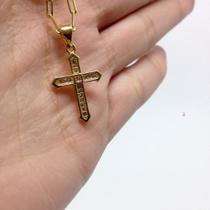 Pingente Cruz Pequena Zircônia Brilhante Folheado Ouro Lindo - Michester