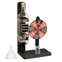 Pingometro de bancada madeira rustico 1litro com jogo da roleta shot - Ame Decor