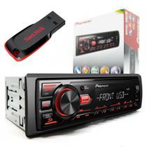 Pioneer Auto Radio Carro Mp3 Player Mvh-98ub Usb Receiver + Pendrive -