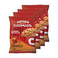 Pipoca cinemark kit c/ 4 pipocas pronta sabor caramelo -