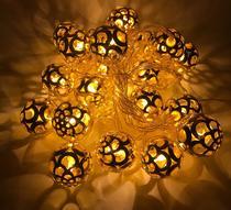 Pisca Cordão 20 Bolas Luz Amarela Warm Metal Dourado Colmeia Bivolt - Sunflower