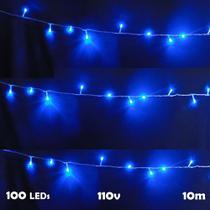 Pisca Pisca 100 LEDs 10m Azul 110v 4 Fases Fio Transparente 1040 - Wmt