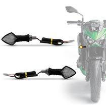 Pisca Seta Moto Sport LED Âmbar Lente Cristal Com Plug De Borracha Flexível Universal Preto Par -