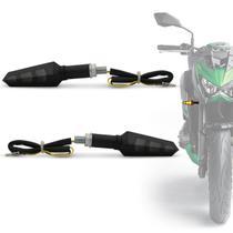 Pisca Seta Moto Sport LED Âmbar Lente Fume Com Plug De Borracha Flexível Universal Preto Par - St