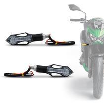 Pisca Seta Moto Sport LED Âmbar  Universal Com Plug De Borracha Flexível Preto Par - St