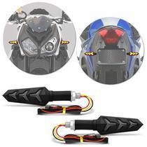 Pisca Seta Moto Sport LED Sequencial Ambar Lente Fume Com Plug De Borracha Flexível Universal Preto - St