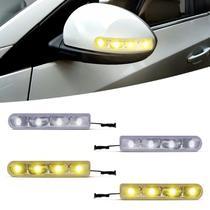 Pisca Seta Retrovisor Com 4 LEDs 12V Slim Seta Universal Luz Amarela e Branca Autopoli -