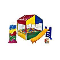 Piscina 1m x 1m com 500 Bolinhas + Escorregador 3 Degraus Playground - Natalplast