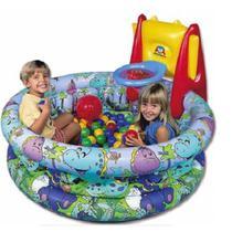 Piscina de bolinhas inflavel completa com tabela cesta de basquete e 150 bolinhas playground infanti - Braskit