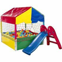 Piscina de Bolinhas - Medidas 1,10m X 1,10m - Com 500 Bolinhas + Escorregador Baby Vermelho e Azul - LACUCA BRINQUEDOS