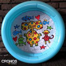 Piscina infantil inflável 60cm Bebê criança tema animado Boia 21L - Cronos