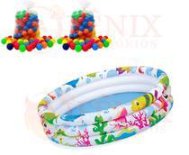 Piscina Infantil Inflável Com Bolinhas 180 Litros + 100 Bolinhas Coloridas - Wellmix