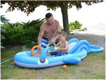 Piscina Infantil Inflável com Escorregador Jilong - 100L Baleia