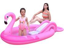 Piscina Infantil Inflável com Escorregador Jilong - 112L Flamingo