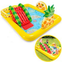 Piscina Inflável Infantil 493 Litros Fruity Play Center com Escorregador INTEX
