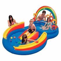 Piscina Intex Playground Arco Íris 227 Litros Infantil Tobogã 57453 -