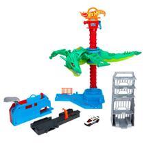 Pista de Percurso e Veículo - Hot Wheels City - Ataque Aéreo do Dragão - Mattel -