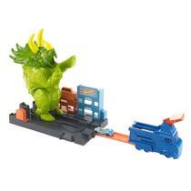 Pista de Percurso e Veículo - Hot Wheels City - Smashin' Triceratops - Mattel -