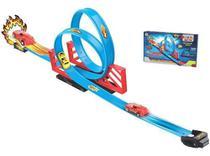 Pista Duplo Looping 2,45m Com Carro A Fricção Braskit 030-0 -