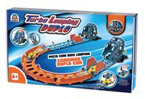 Pista Turbo Looping Duplo Carrinho com Bateria 32 peças Braskit -