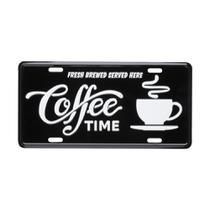 Placa Alumínio Coffee Time Preto E Branco - Urban