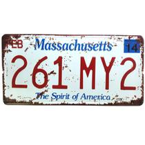 Placa de carro antiga decorativa metalica vintage - Massachusetts - Lorben