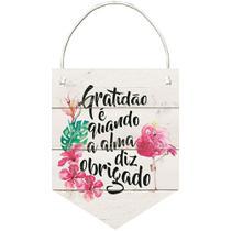 Placa de MDF e Papel Decor Home Litoarte 21,2 x 28,5 cm  Modelo DHPM5-225 Flamula Flamingo Gratidão -