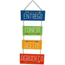 Placa de MDF e Papel Decor Home Litoarte 21,2 x 28,5 cm  Modelo DHPM5-242 Entrego, Confio, Aceito -