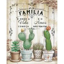 Placa de MDF e Papel Decor Home Litoarte 24 x 19 cm   Modelo DHPM-382 Cactos Família -
