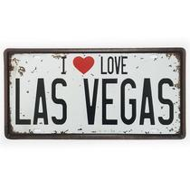 Placa de Metal Decorativa I Love Las Vegas - Yaay