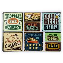 Placa de Metal Food Bar Beer and Coffee - 30 x 20 cm - Yaay