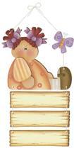 Placa de Porta MDF Decoupage Menina DM-064 - Litoarte -